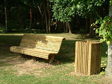 Public benches and bins