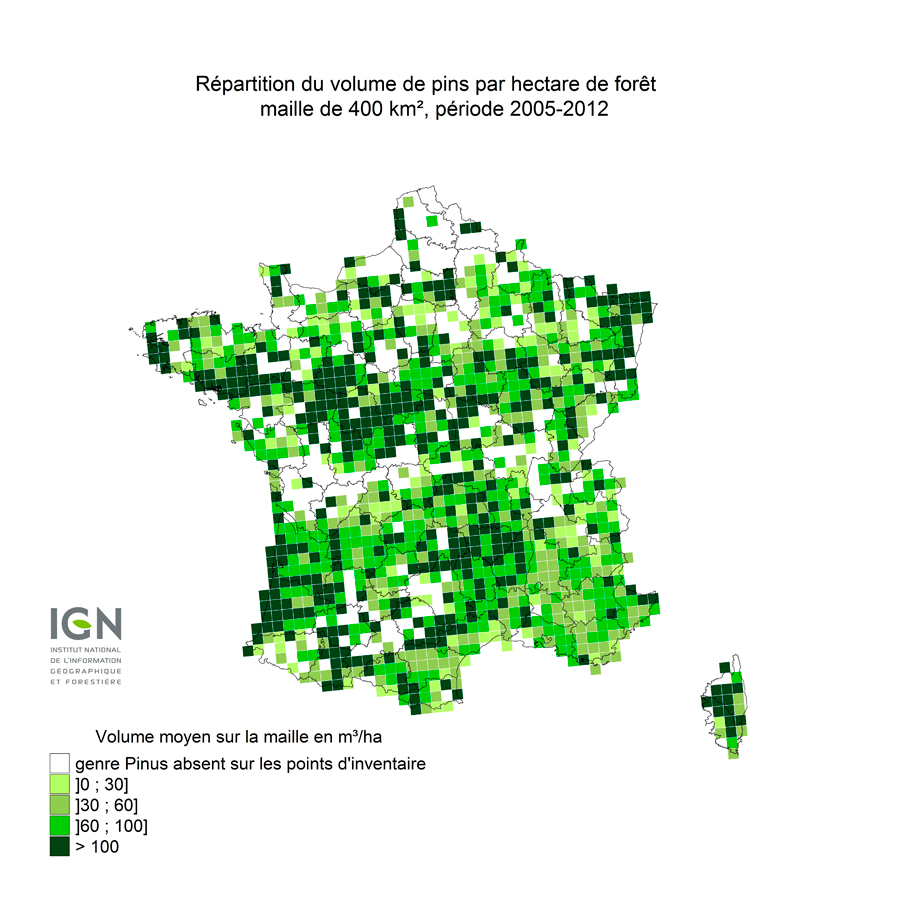 Carte répartition Pinus en France