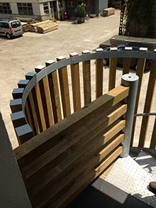 Raw timber handrails