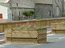 Planters and benches