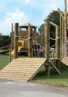 Outdoor play areas with round log posts