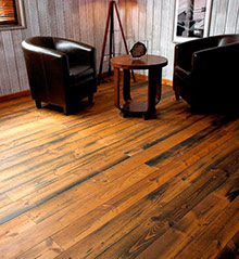 Night club style pine parquet flooring