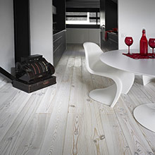 Whitened pine parquet flooring