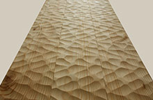 Sculpted pine parquet flooring